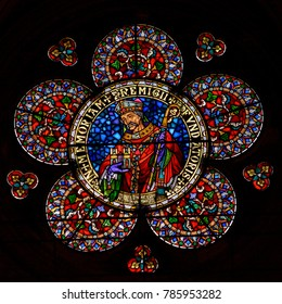 Lincoln, England - Nov 17, 2017: Rose of West Window, Stained Glass in Lincoln Cathedral