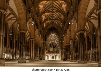 LINCOLN, ENGLAND - OCTOBER 28:  The main nave of the Lincoln Cathedral (The Cathedral Church of the Blessed Virgin Mary of Lincoln) on October 28, 2013 in Lincoln.