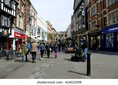 LINCOLN, LINCOLNSHIRE, UK. MAY 01, 2016.  The High street looking North towards the Stonebow at Lincoln in Lincolnshire, UK.
