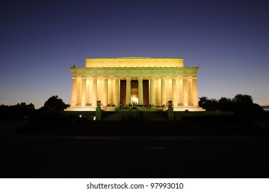 Lincoln Memorial after sunset, Washington DC, District of Columbia, USA, Lincoln Memorial nach dem Sonnenuntergang