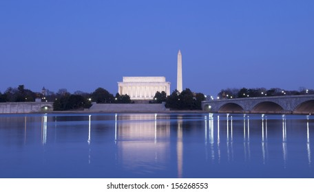 The Lincoln Memorial, Arlington Memorial Bridge and Washington Monument, Washington, DC, the United States
