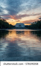 Lincoln Memorial Cloud Reflection on the National Mall Reflecting Pool at Sunset, Washington D.C.