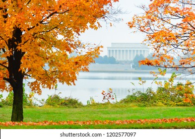 Lincoln Memorial in a foggy autumn day - Washington DC United States of America