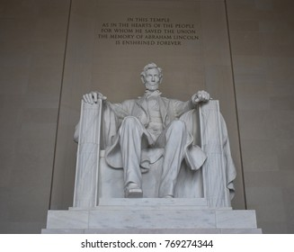 Lincoln Memorial - Honest Abraham Lincoln Sitting on His Chair with Memorial Inscription Above his Head