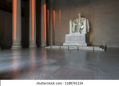 The Lincoln Memorial indoors at Sunrise on the National Mall in Washington DC.