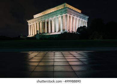 The Lincoln Memorial at night, at the National Mall, in Washington, DC.