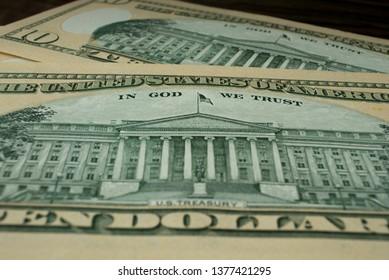 Lincoln memorial on paper five dollars bill macro photo.