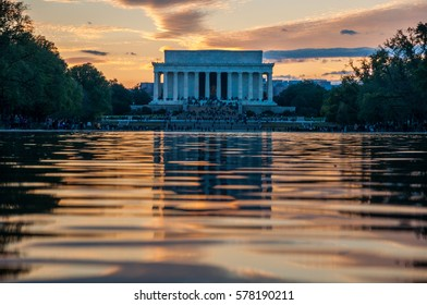 Lincoln Memorial Reflection on the National Mall Reflecting Pool at Sunset, Washington D.C.