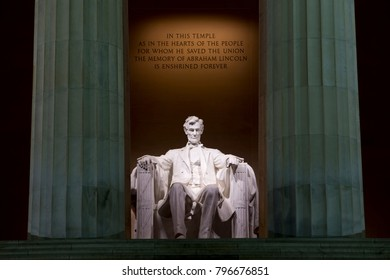 The Lincoln Memorial seen at night in Washington, D.C.