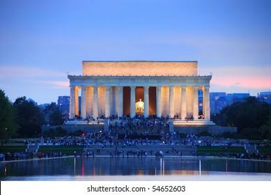 Lincoln Memorial at sunset with lake reflections, Washington DC