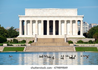 The Lincoln Memorial in Washington D.C. on a beautiful summer day