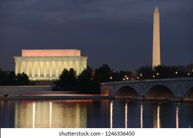 Lincoln Memorial and Washington Monument at night. A night view from riverside of the Potomac River - Washington DC, United States