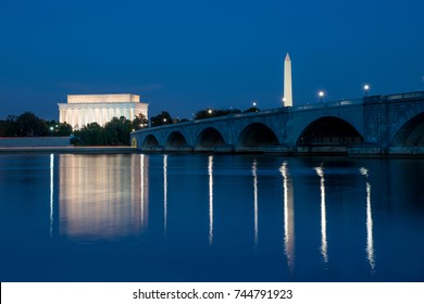 Lincoln Memorial and Washington Monument Reflected in the Potomac River at Night