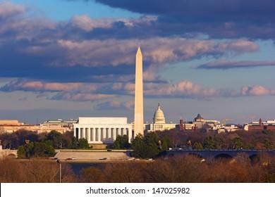 Lincoln Memorial, Washington Monument and US Capitol, Washington DC
