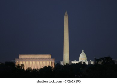 Lincoln Memorial, Washington Monument, US Capital Building at Night