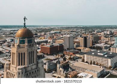 Lincoln, NE / USA - 09/25/2020: Drone photos of the Nebraska state capitol building in Lincoln, Nebraska