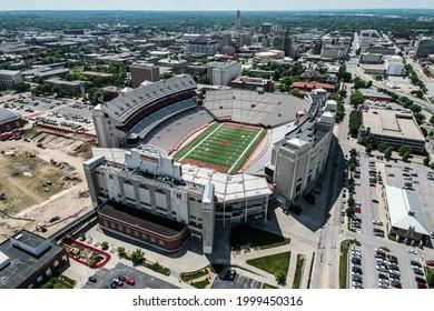 Lincoln, Nebraska - USA - 06-29-21: Memorial Stadium in Lincoln Nebraska, home of the Nebraska Huskers college football team