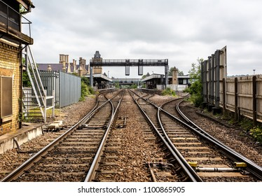 Lincoln railway station from railway track leveltaken in  Lincoln, East Midlands, UK on 23 May 2018