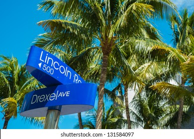 Lincoln Road and Drexel Avenue street signs located in Miami Beach.