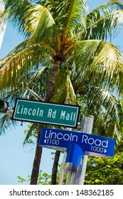 Lincoln Road Mall street signs located in Miami Beach.