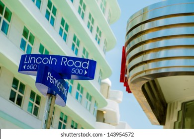 Lincoln Road and Pennsylvania Avenue street signs located in Miami Beach.