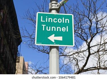 Lincoln Tunnel street sign, Manhattan New York