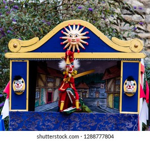 Lincoln, UK - 12/08/2017: A classic Punch and Judy puppet show being performed in Lincoln