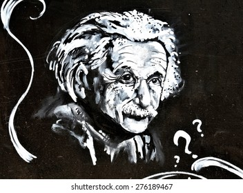 LINCOLN, UK - APRIL 9, 2015: Graffiti depicting famous scientist Albert Einstein decorates wall in the centre of Lincoln, England. Einstein was a famous physicist known for its Theory of Relativity