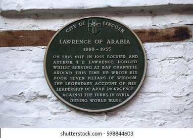 LINCOLN, UK - FEBRUARY 28TH 2017: A plaque on Steep Hill in the city of Lincoln, marking the location where Lawrence of Arabia lodged whilst serving at RAF Cranwell, taken on 28th February 2017.