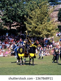LINCOLN, UK - MAY 26, 1992 - Jousting Tournament in Castle grounds performed by the The Nights of Nottingham, Lincoln, Lincolnshire, England, UK, Western Europe, May 26, 1992.