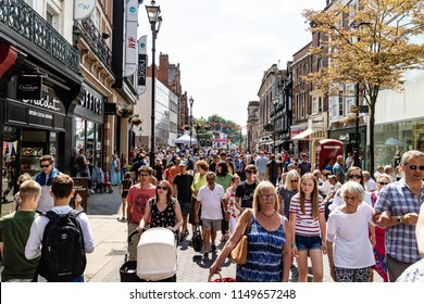 Lincoln, United Kingdom - 07/21/2018: Lincoln High Street during a busy Summer's day.