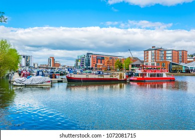 LINCOLN, UNITED KINGDOM, APRIL 10, 2017: Riverside of the brayford pool in Lincoln, England