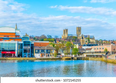 LINCOLN, UNITED KINGDOM, APRIL 10, 2017: Lincoln cathedral overlooking Brayford pool, England