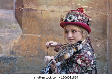 Lincoln, United Kingdom, August, 24, 2019. Asylum Steampunk Festival. People in the street dressed in Steampunk costumes and accessories.
