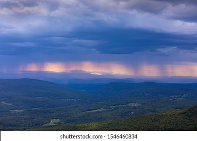 LINCOLN, VERMONT, USA - AUGUST 9, 2019: Rain storm over Champlain Valley and Green Mountains, central Vermont.