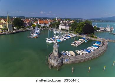 LINDAU, BONDESEE/ GERMANY- CIRCA JULY 2015: Lindau harbor and the Lighthouse in Lake Bodensee, Germany