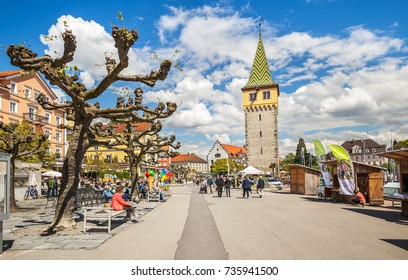 Lindau, Gegmany - May 5, 2017: View of a lakeside promenade of Lindau. Germany