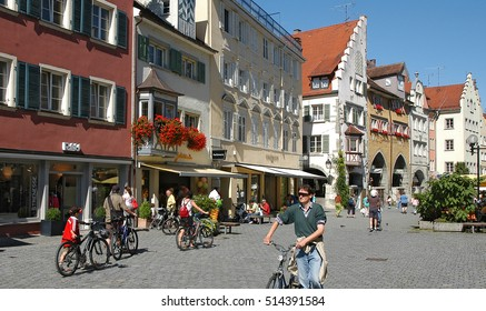 LINDAU, GERMANY - AUGUST 19, 2006: Shops and buildings, the main street