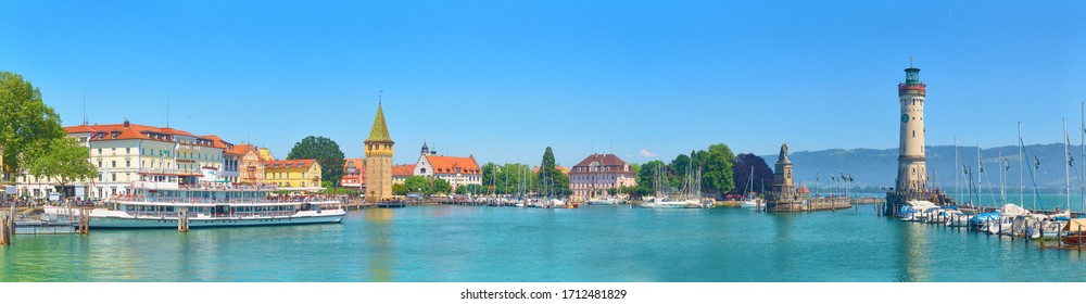 LINDAU / GERMANY - JUNE 07, 2019: Panorama of Lindau harbor on Lake Constance.