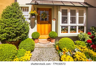 Lindau, Germany - May 05, 2017: Beautifully decorated entrance in a private house in Lindau, Germany