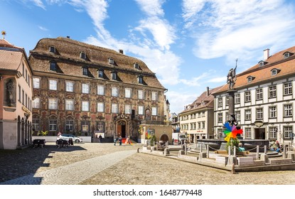Lindau, Germany, May 5, 2017: View of the square Marktplatz with museums and restaurants, lindau