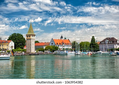 Lindau harbor in summer