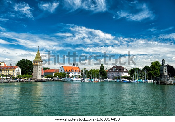 Lindau harbor in summer