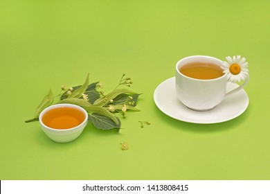 Linden  blossom and honey, a cup of herbal tea, camomile flower. Ayurveda. View from high angle, space for a text. On a lime green background.