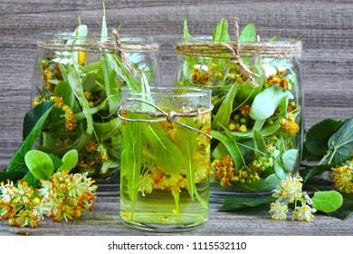 Linden flowers in a glass jar. Harvesting of linden tea. Linden tea. Healing herbal tea.