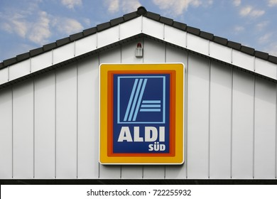 LINDEN, GERMANY JULY, 2017: ALDI (south)supermarket chain sign. ALDI (south) is a German global discount supermarket chain, based in Muelheim an der Ruhr