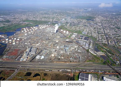LINDEN, NJ -21 APR 2019- Aerial view of the Linden Generation Station (Co-Gen), a power plant next to the New Jersey Turnpike.