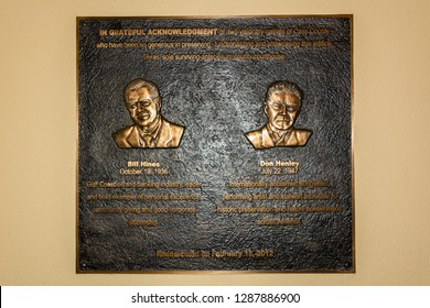 Linden, Texas, United States of America - January 14, 2017. Plate commemorating musicians Bill Hines and Don Henley at Music City Texas Theater in Linden, TX.