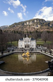 LINDERHOF, GERMANY - April, 17, 2015 - Linderhof Palace is a Schloss in Germany, in southwest Bavaria near Ettal Abbey. It is the smallest of the three palaces built by King Ludwig II of Bavaria