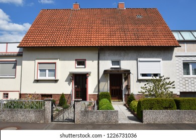 Lindhorst, Germany - May 21, 2017: Semi-detached houses of the German post-war period
